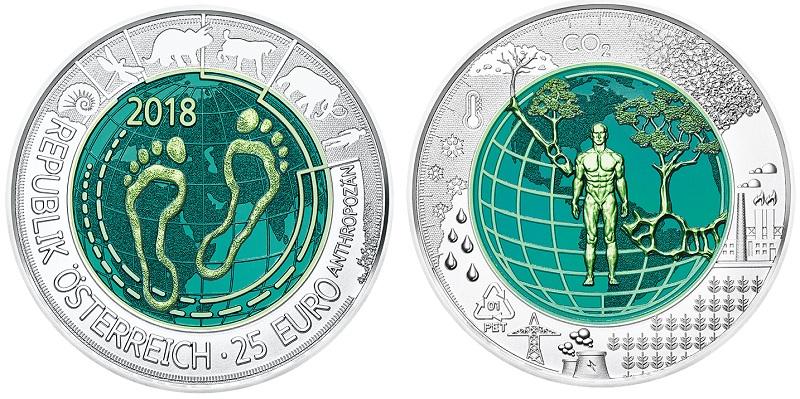 Suggestivi e modernissimi questi 25 euro in argento e niobio proposti da Vienna: sono già sold out