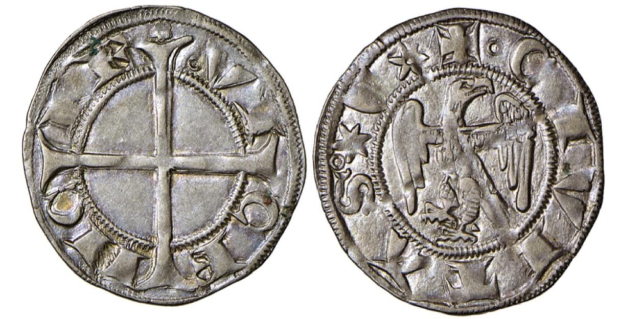 Un bell'esemplare di grosso aquilino a nome della città di Vicenza (argento; mm 20; g 1,40; h -)