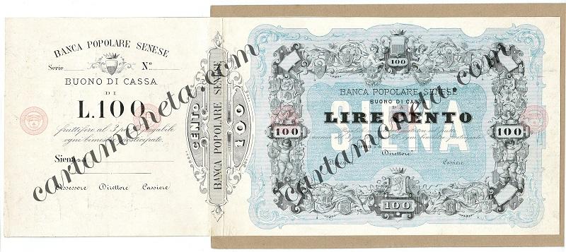 L'inedito buono di cassa da 100 lire della Banca Popolare Senese