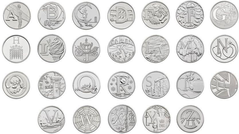 """Ventisei monete da 10 pence ideate e coniate dalla Royal Mint per simboleggiare """"l'alfabeto"""" dell'identità pop britannica"""
