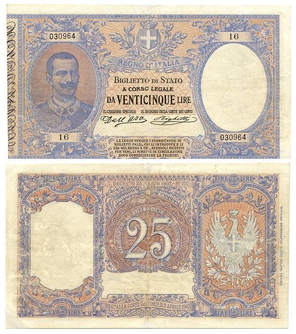 Un eccellente esemplare del rarissimo 25 lire di inizio Novecento