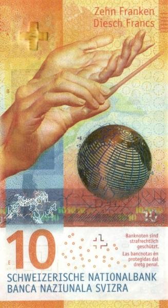 Il fronte dei nuovi 10 franchi svizzeri