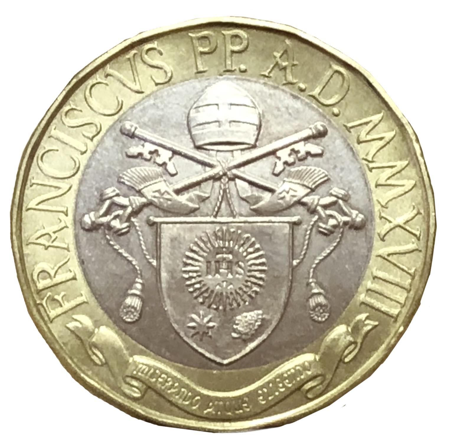 Sono di squisito gusto rinascimentale lo stemma e i caratteri modellati dall'artista Gabriella Titotto per il dritto della moneta
