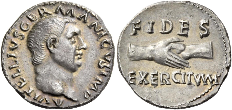 Denario di Vitellio coniato nell'anno 69 (argento; mm 17,5; g 3,45) che inneggia alla fedeltà dell'esercito, garantita anche da un trattamento economico soddisfacente dei soldati