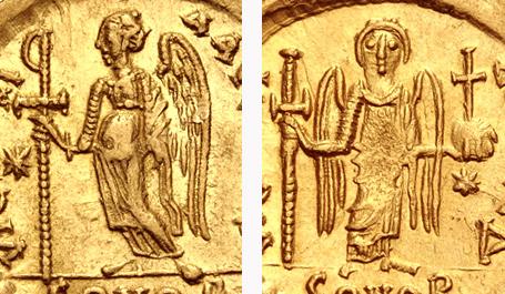 Particolare della Vittoria/Angelo nel rovescio del solido di Anastasio I (a sinistra) e di Giustino I (a destra)