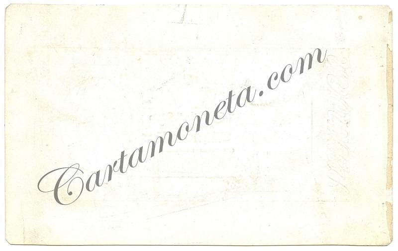 Il retro del cartoncino su cui è incollata la prova del 25 lire