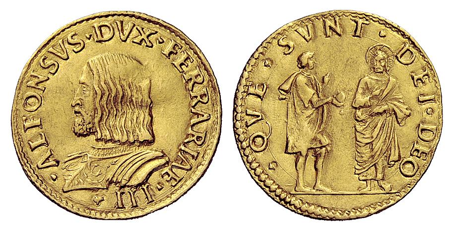 Un esemplare del doppio ducato con ritratto barbuto del duca e la scena del fariseo che porge a Gesù la moneta del tributo (oro; mm 26,5; g 6,85)