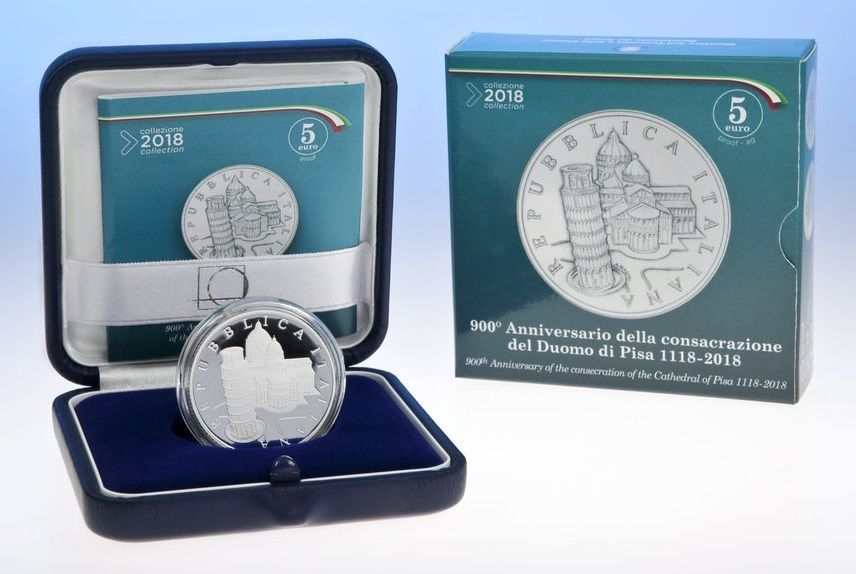 La confezione in cui il Poligrafico e Zecca dello Stato italiano propone la 5 euro per il Duomo di Pisa