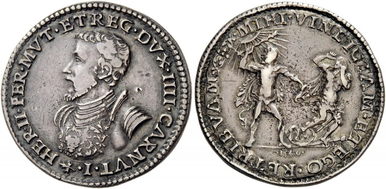 Mezzo scudo per Ferrara del 1546 (argento; mm 34; g 17,22) con al rovescio Ercole (ex NAC 2017)