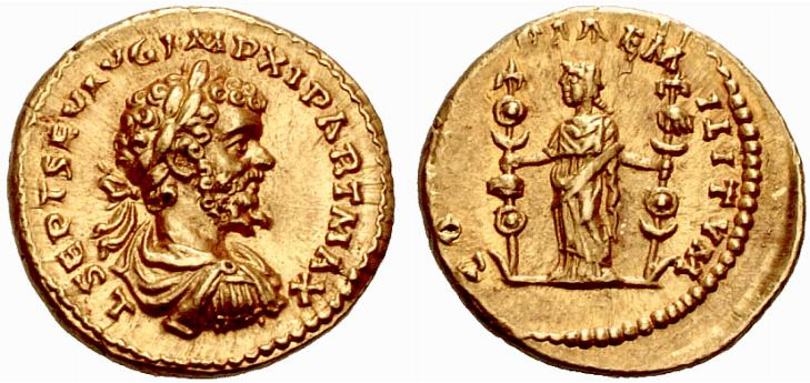 Aureo di Settimio Severo coniato dalla zecca di Laodicea a Mare nel periodo 198-202 (oro; mm 19,5; g 7,17) e inneggiante alla concordia delle forze armate