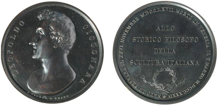 Antonio Fabris, In memoria di Leopoldo Cicognara, 1834 (bronzo; mm 52; g -)