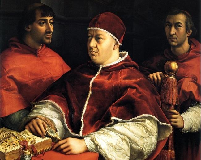 Papa Leone X Medici ritratto da Raffaello. Fu uno dei tre papi a scomunicare Alfonso II d'Este