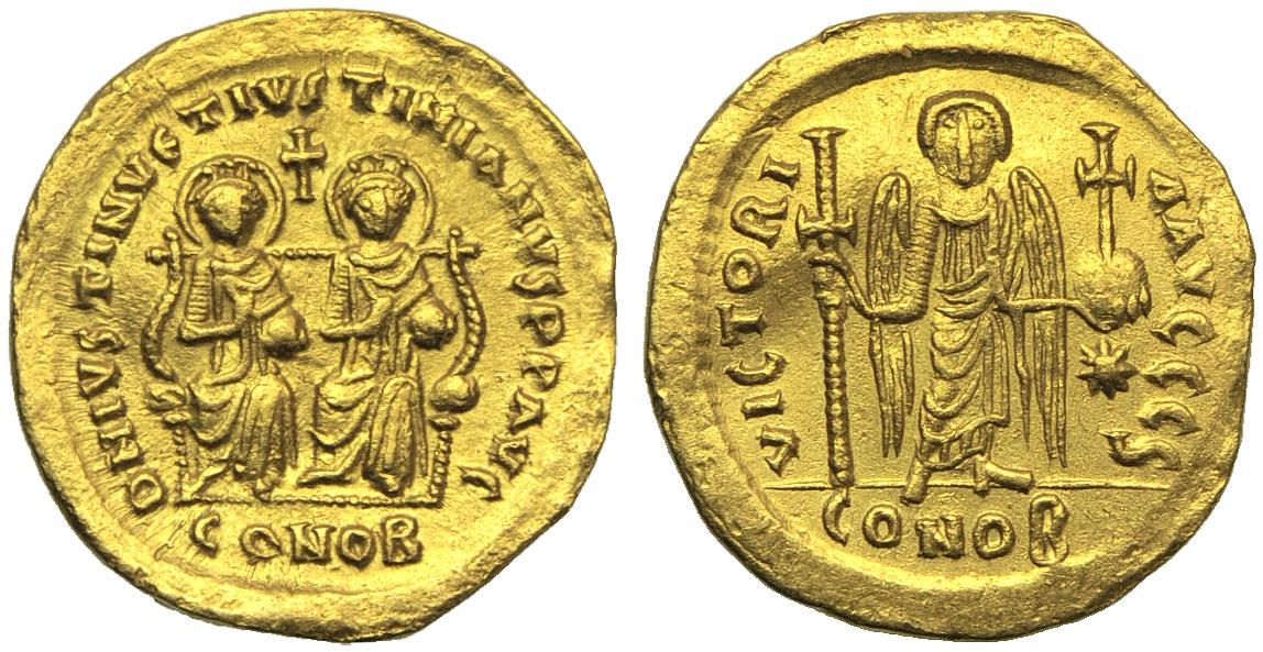 Solido di Giustino I e Giustiniano I (527) con la raffigurazione della Vittoria definitivamente trasformata in Angelo (oro, g 4,35; mm 20; h 6)