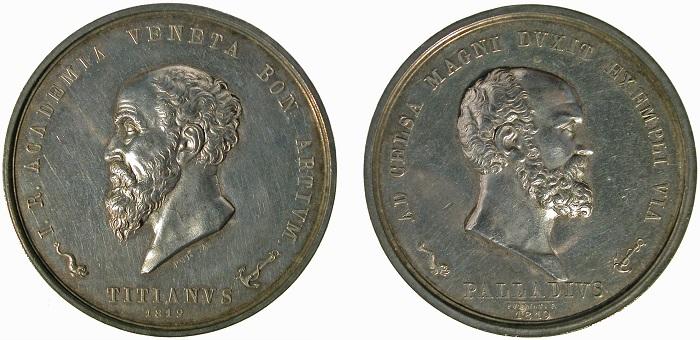 Francesco Putinati, Medaglia ufficiale-premio della Imperial Regia Accademia di Belle Arti di Venezia, 1819 (argento; mm 54,5; g 73,6)