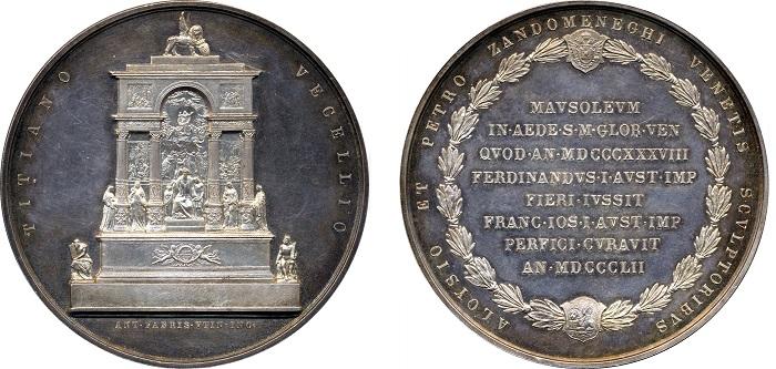 Antonio Fabris, Mausoleo di Tiziano nella chiesa dei Frari a Venezia, 1854 (argento; mm 61,4; g 88,4)