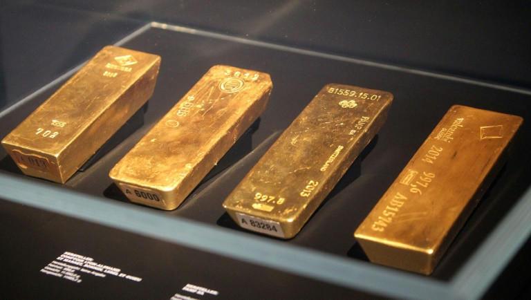 Alcuni dei lingotti della riserva aurea tedesca esposti a Francoforte