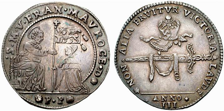 Osella dell'anno III di Francesco Morosini che celebra lo stocco e la berretta ricevute da papa Alessandro VIII