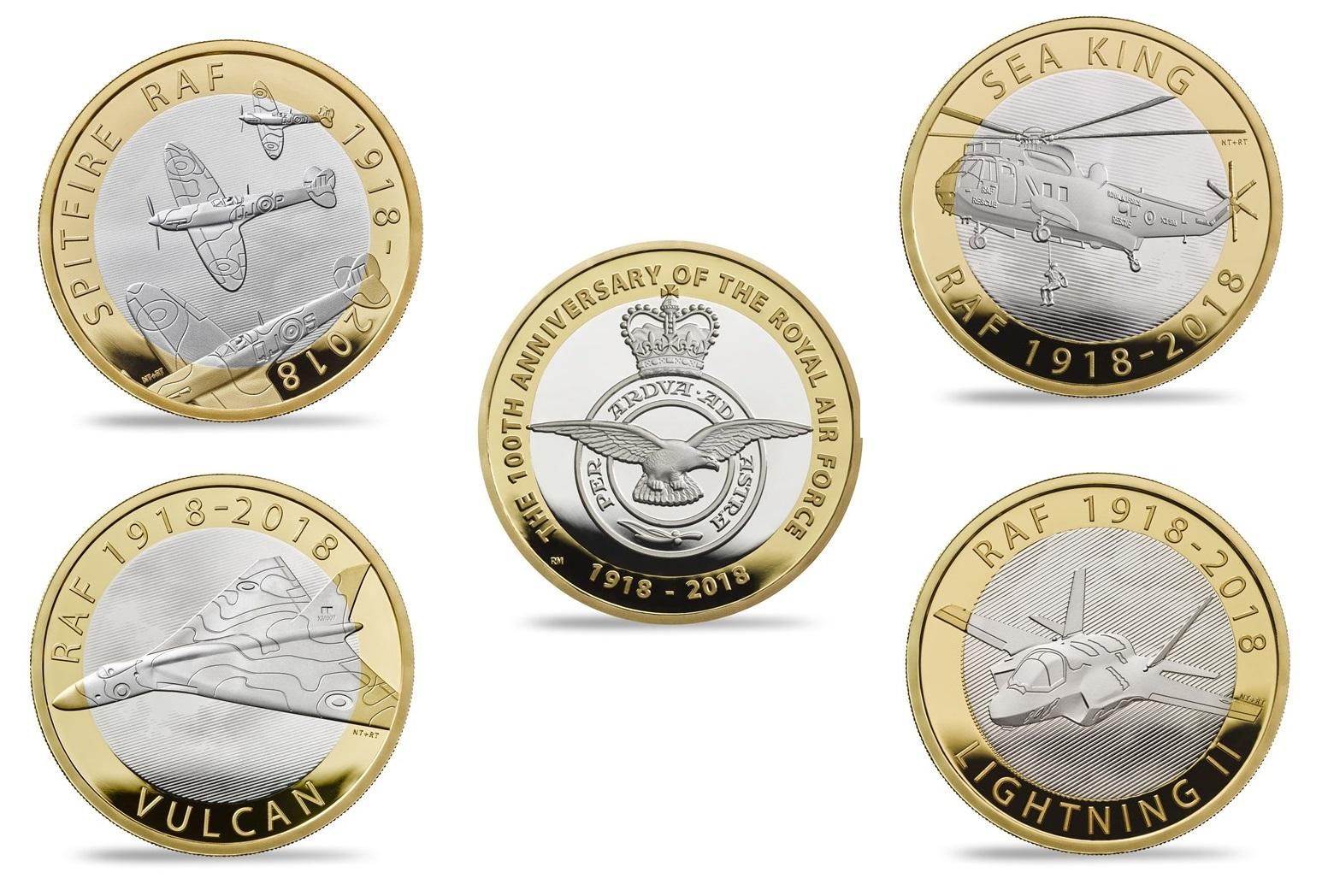 Ecco i rovesci delle cinque monete per i 100 anni della RAF; al dritto, come sempre, l'inossidabile regina Elisabetta II