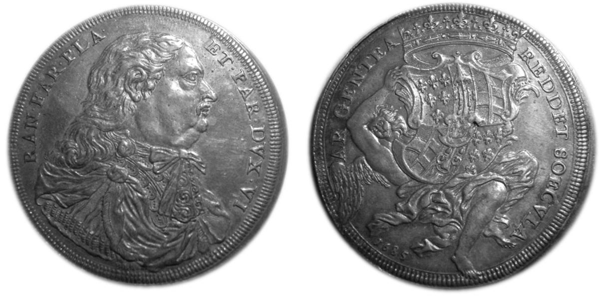 L'unico esemplare noto di scudo delle marche 1685 per Piacenza è conservato presso il medagliere di Parma