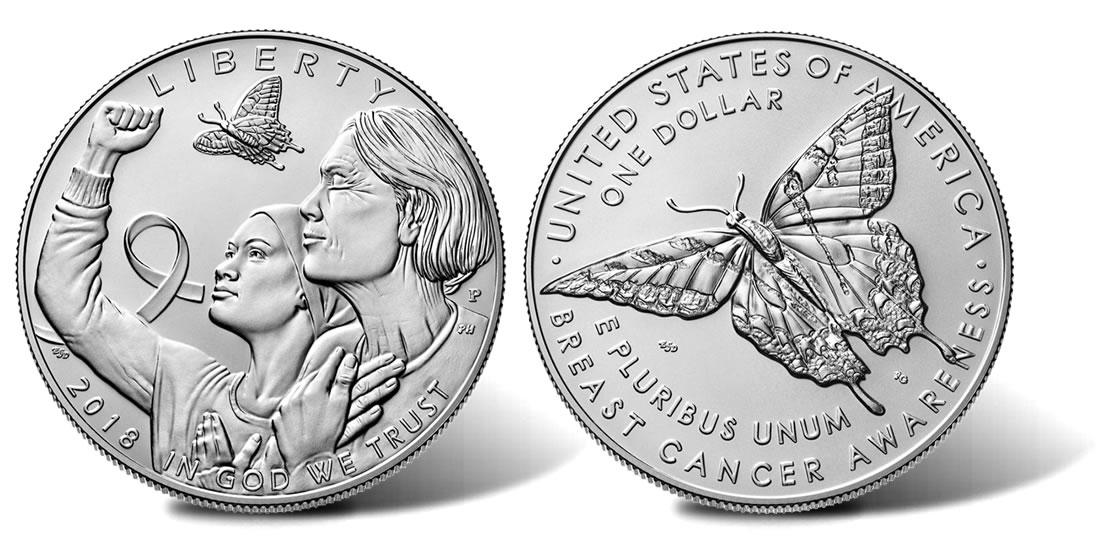 C'è tutta la forza delle donne nella lotta contro i tumori al seno su questo bel dollaro in argento emesso dagli Stati Uniti