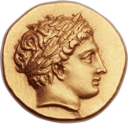 Un raffinato profilo laureato di Apollo sul dritto dello statere di Filippo II di Macedonia