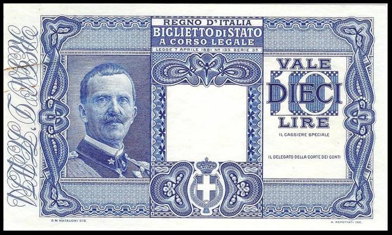 Il fronte del progetto di biglietto di Stato con l'effigie di Vittorio Emanuele III