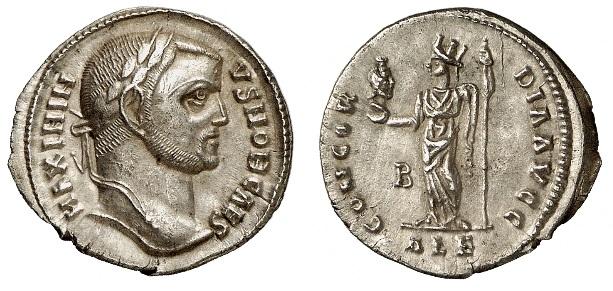 Argenteo (g 3,28) a nome di Massimino Daia come cesare, coniato ad Alessandria nel 305-307 con al rovescio la Concord che regge il capo di Serapide