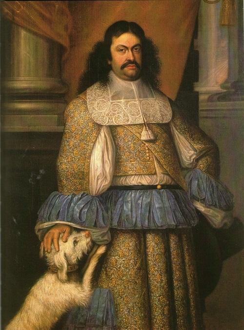 Ranuccio II Farnese, duca di Parma e Piacenza, ritratto assieme ad uno dei suoi fedelissimi cani