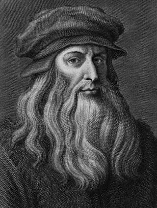 Leonardo da Vinci in una incisione ottocentesca