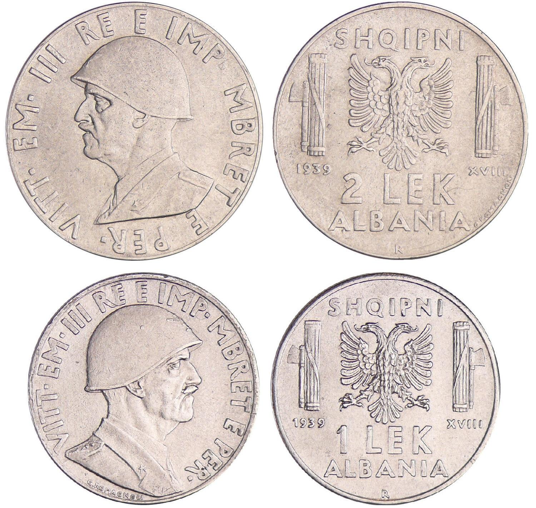 Monete da 2 e 1 lek in acmonital per l'Albania, anno 1939-XVIII, opera di Giuseppe Romagnoli
