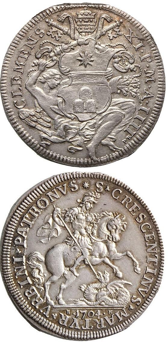 La mezza piastra papale con dritto araldico inciso dal Borner ispirandosi chiaramente alla precedente moneta piacentina