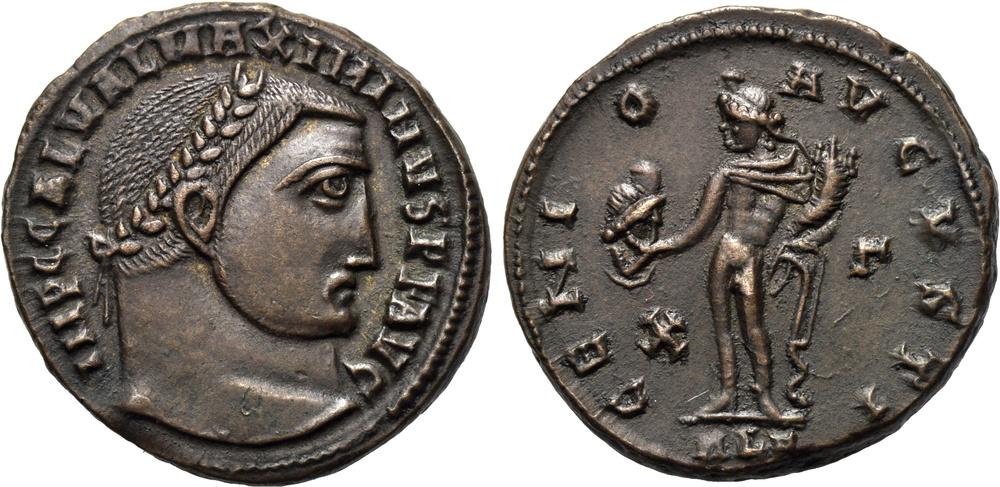 Il Genio dell'augusto e Serapide sul rovescio di questo bellssimo follis alessandrino (g 5,7) del 311-313