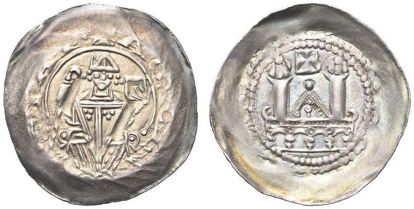 Denaro scodellato aquileise (argento: mm 22; g 1,05) a nome del patriarca Pellegrino II (1195-2015) sul cui impianto venne modellato anche il denaro di Latisana