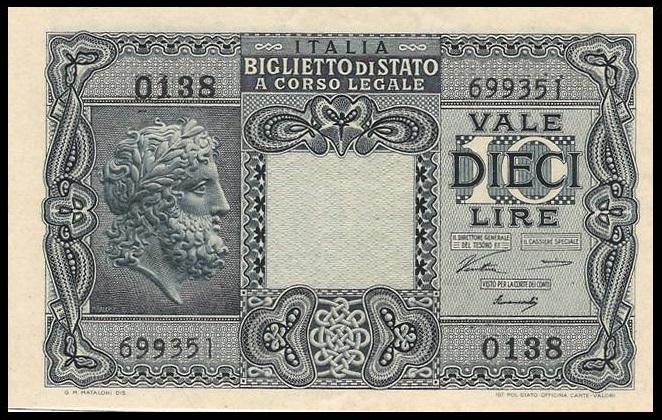 Il fronte della versione definiva del biglietto di Stato da 10 lire