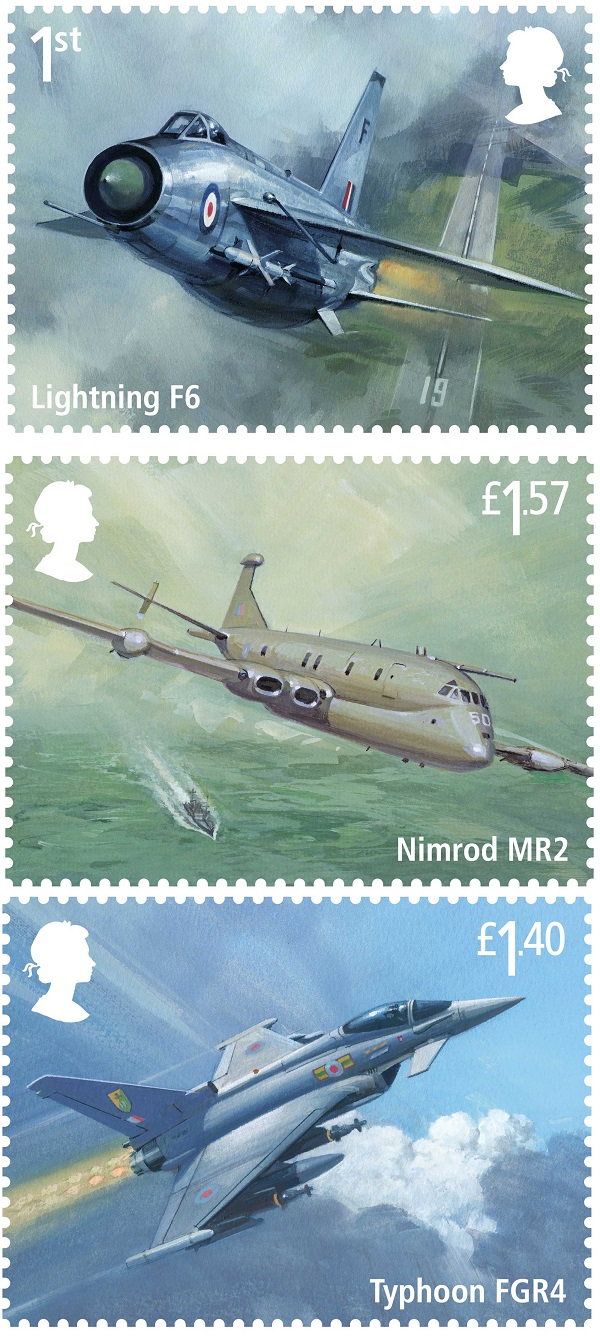 tre dei sei francobolli per il secolo della RAF