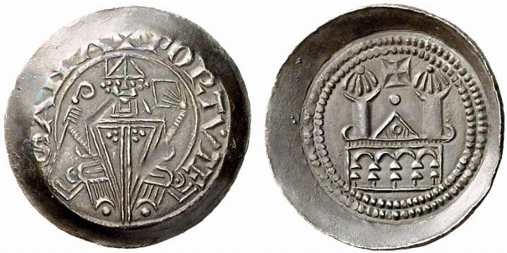 Eccezionale esemplare del denaro di Latisana (argento; mm 22; g 1,14) a nome di Meinhard II (1186-1232) e Engelbert III (1186-1220) Eppenstein, conti di Gorizia. Al D/ si legge +PORTVTE | SANA. Esemplare ex asta Lanz 145 del 2009, n. 148