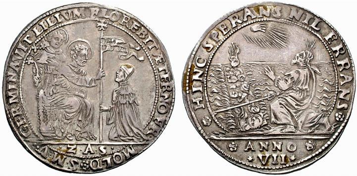 Uno dei migliori esemplari conocsciuti dell'osella in argento del 1652 raffigurante sant'Antonio al dritto e Mosè