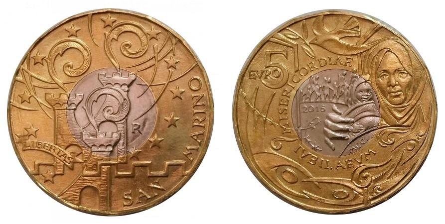 La prima 5 euro bimetallica del Titano, anno 2016, soggetto il Giubileo della Misericordia