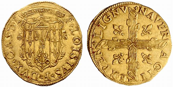 Scudo d'oro. D/ *. P • AlOVISIVS .'. F • DVX • CASTRI, Stemma in cartella coronata e ornata di volute partito dei tre gigli in palo