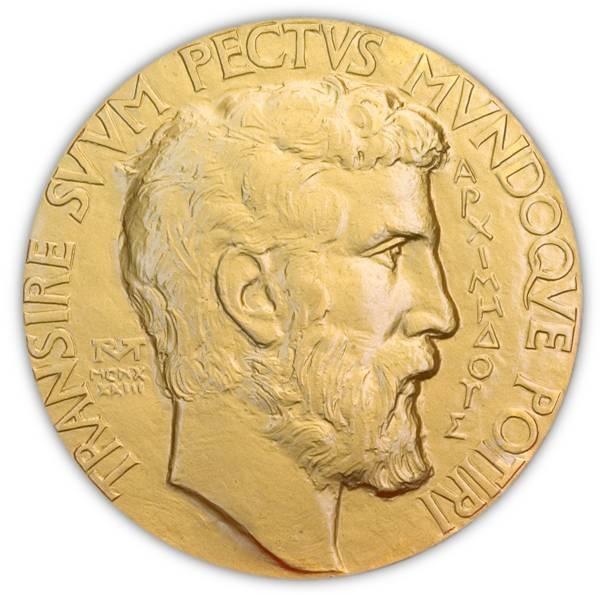 Il dritto della Fields medal con ritratto di Archimede, uno dei più grandi matematici dell'antichità