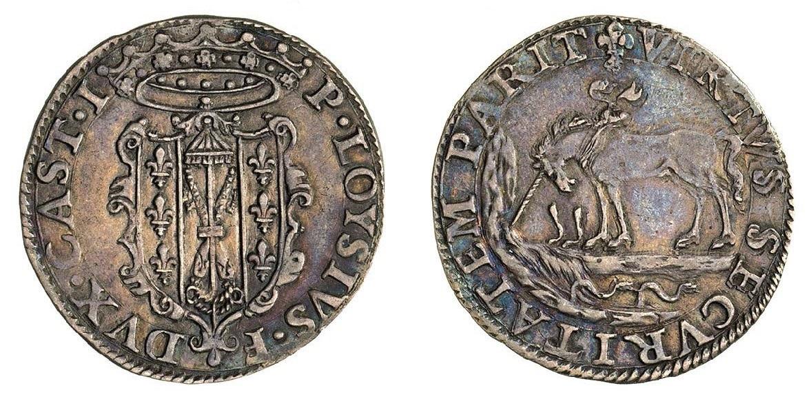 Paolo (1/8 di scudo) in argento. D/ P. LOYSIVS • F DVX • CAST