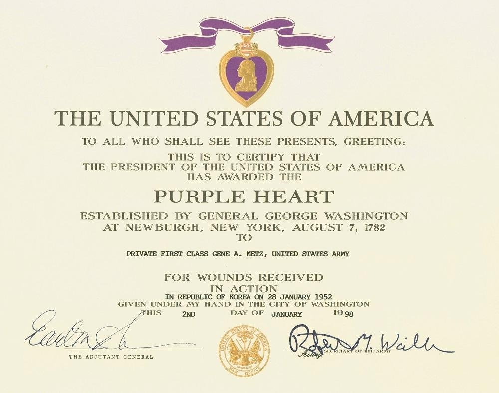 Diploma di concessione della medaglia ad un reduce della Guerra di Corea