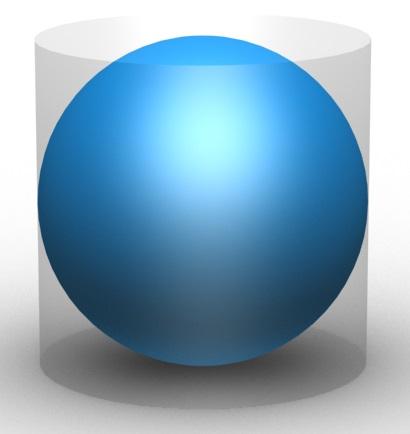 Archimede dimostrò che data una sfera inscritta in un cilindro e di diametro pari all'altezza del cilindro, il rapporto tra volume della sfera e del cilindro è 2:3