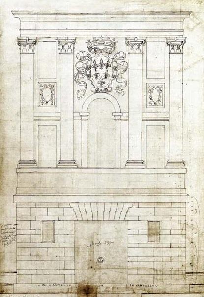 Progetto della facciata della zecca di Castro, dominata dal grande stemma farnesiano