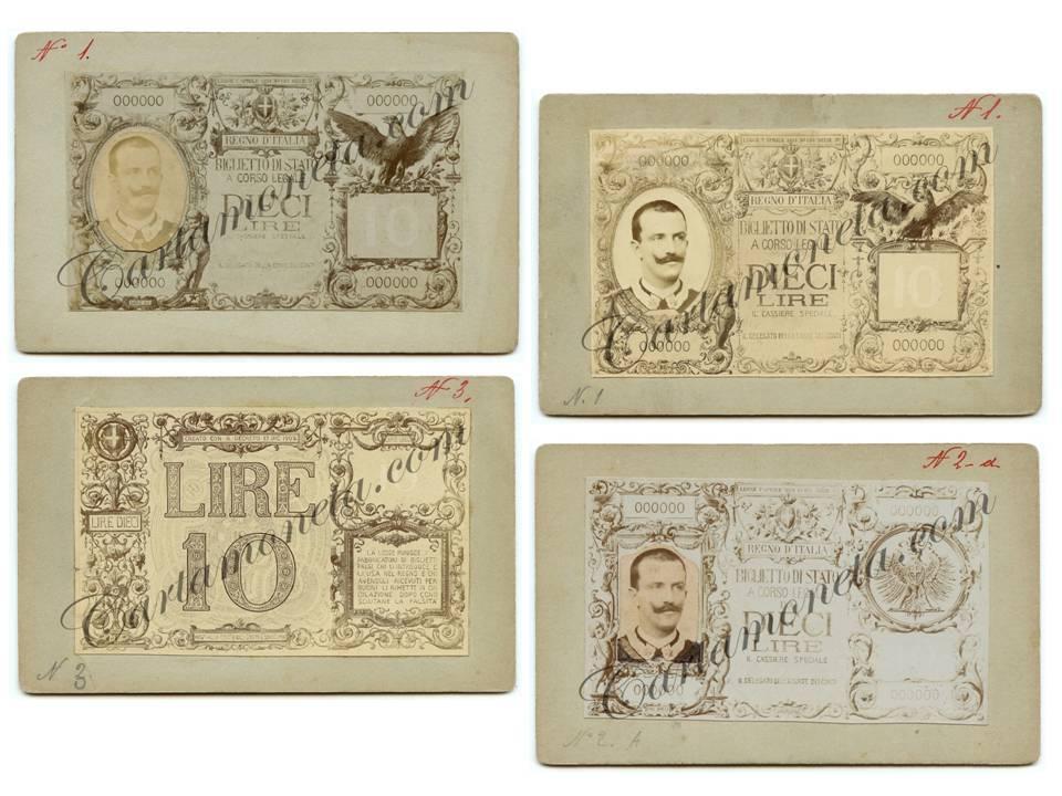 Alcuni dei bozzetti di prova del biglietto di Stato da 10 lire, realizzati attorno al 1902