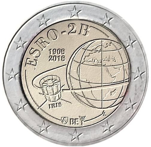 I 2 euro belgi disegnati da Luc Luycx per il mezzo secolo dal lancio del primo satellite europeo