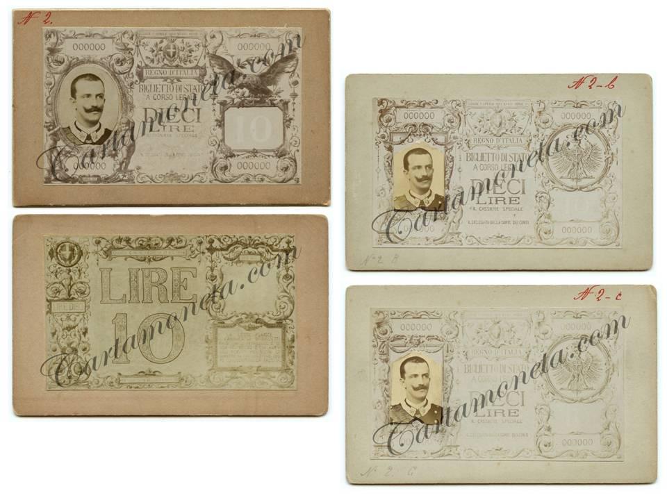 Altre prove di dritto e di rovescio per il taglio cartaceo che avrebbe dovuto sostituire l'omologo biglietto umbertino