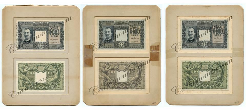 Prove fronte-retro del biglietto da 10 lire autorizzato con Decreto Luogotenenziale n. 232 del 20/01/1916