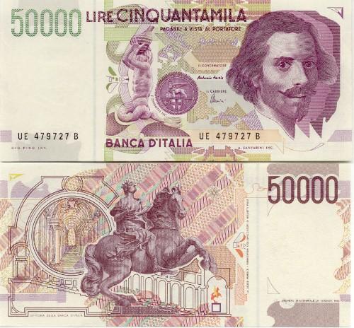 Il 2° tipo di banconota da 50.000 lire dedicata a Gian Lorenzo Bernini