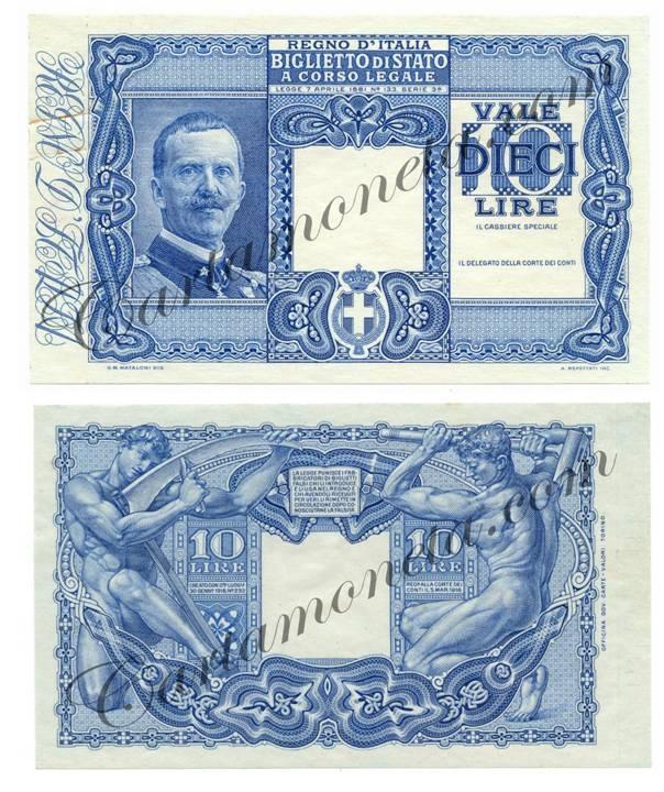 """La versione del biglietto di Stato da 10 lire bocciata da Mussolini per le """"indecenti nudità maschili"""" al retro"""